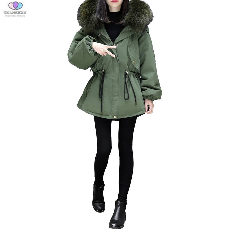 2017 New Winter Jacket Thick Large Fur Collar Women  Medium long Down Cotton Jacket Coat Winter Hooded Down Jacket TNLNZHYN E352 pregnant women winter coat new fashion large size coat thick warm cotton down jacket medium long hooded fur collar jacket g2838