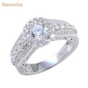 Image 1 - Newshe Halo חתונת אירוסין טבעת 1.8 Ct עגול לחתוך AAA CZ מוצק 925 כסף סטרלינג תכשיטים קלאסיים לנשים JR4232