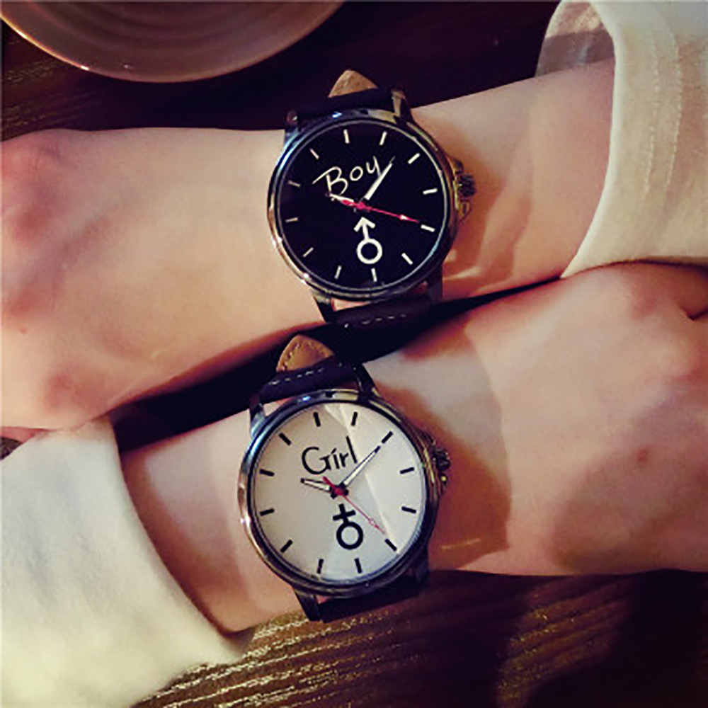 Gofuly 2020 Lover's Wristwatch Simple Stylish Couple Watch Luxury Girl And Boy Leather Quartz Clock Lovers Watch For Men Women