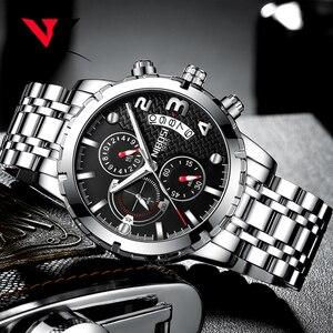 Image 3 - Nibosi relógio de pulso masculino, relógio de marca de luxo top para homens, esporte militar, à prova d água, aço inoxidável, cronógrafo, 2018