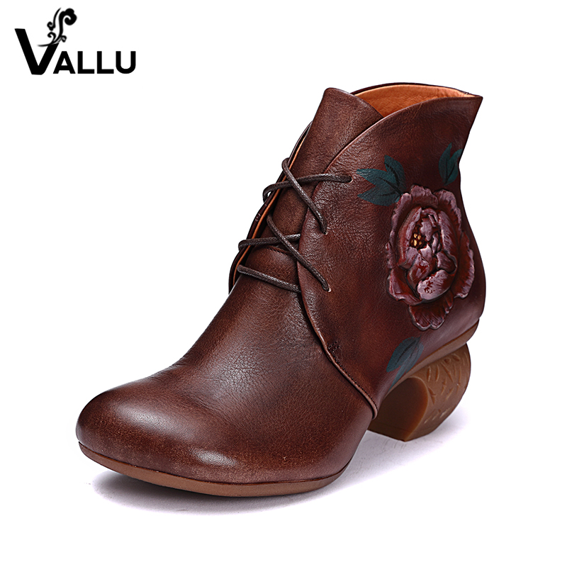 2018 VALLU Handmade Vintage Shoes Ankle Boots for Women Round Toes Lace Up Ankle Boots Print Paint Flower Ladies Booties flower print round coaster