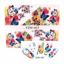 YZWLE 1 Sheet Water Decals Transfer Stickers Nail Art Stickers Charm DIY Flying Butterfly Designs Fashion Accessories 007(China)