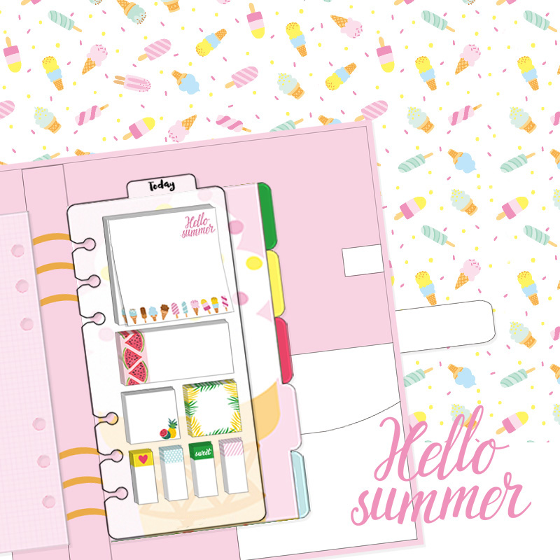 Lovedoki I Love Summer Sticky Note Creative DIY Memo Pad Planner Notes for Dokibook Notebook Accessories Office School Supplies plastic self adhesive sticky notes memo pad notebook category label page index tag post planner stickers office school supply