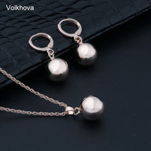 Volkhova New Arrivals 585 Rose Gold Spherical Ball Geometric Dangle Earrings Set Women Wedding Party Exquisite Jewelry Set(China)
