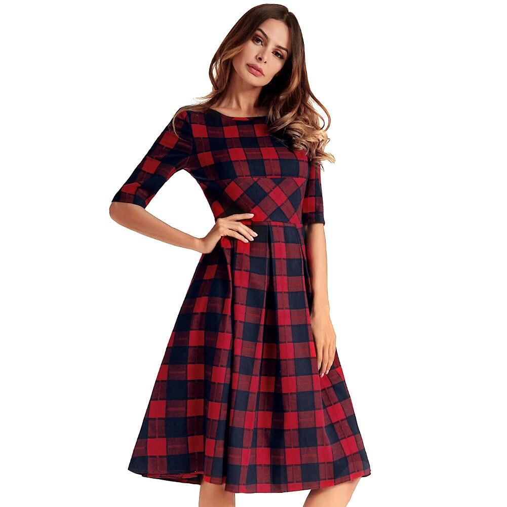 Women Vintage Plaid Check Dress V Back Knee Length Casual