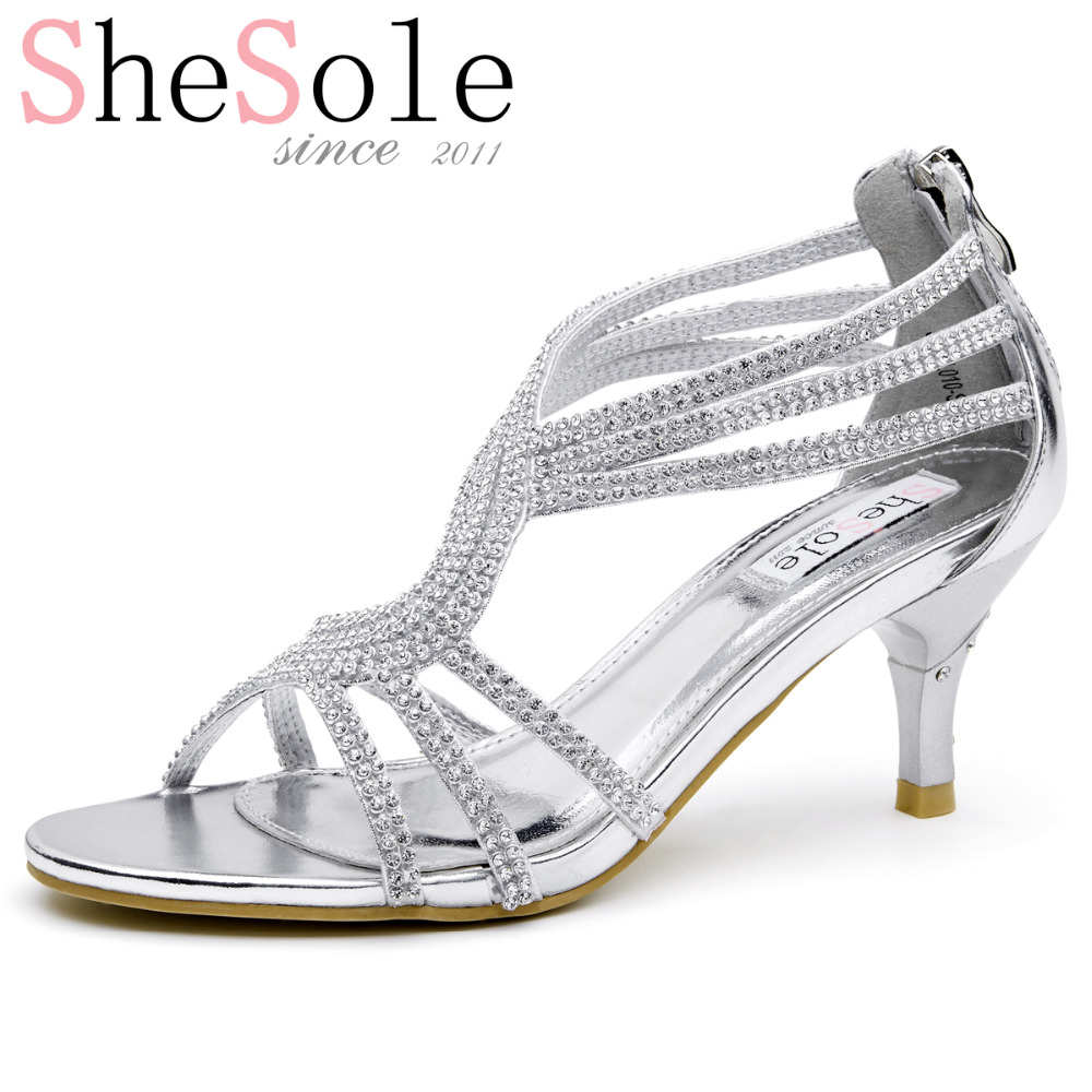 3b9c00e5e4824 SheSole brand 2016 womens mid heeled sandals 6.5cm kitten heels rhinestone  sparkly ankle strappy summer leather wedding shoes-in Women's Sandals from  Shoes ...