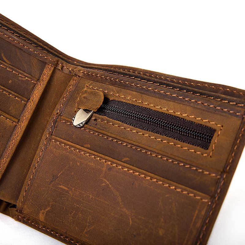 WESTAL hommes sac à main véritable crazy horse portefeuille en cuir pour homme vintage sac mâle crédit porte-carte porte-monnaie pour hommes portefeuille 7127