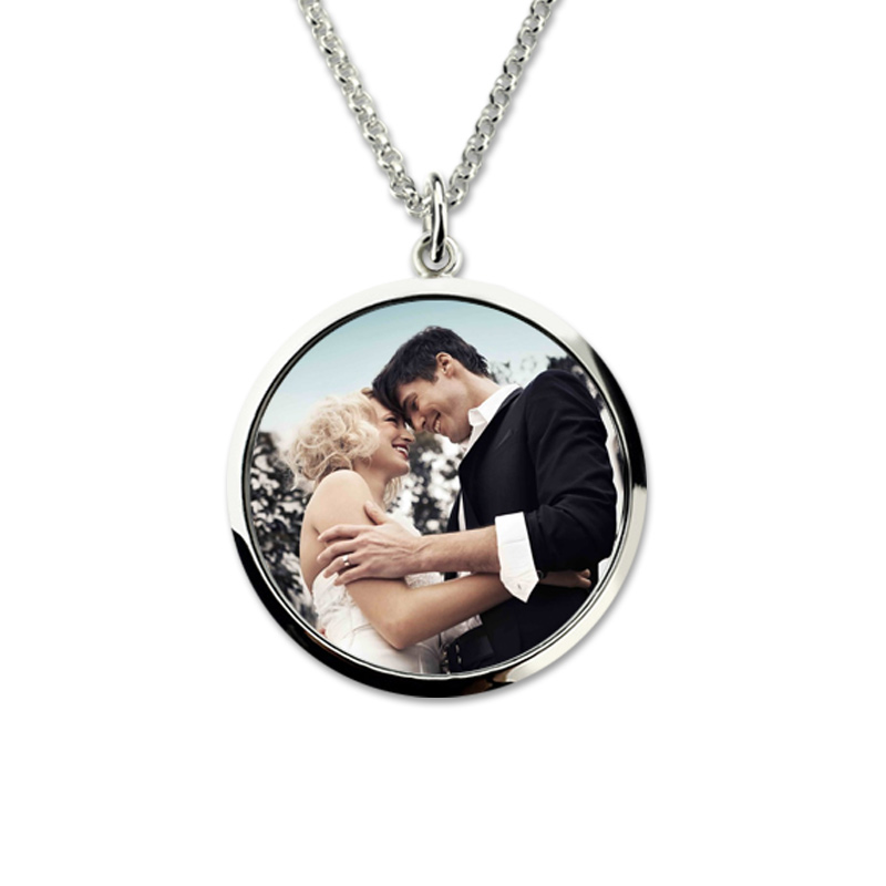 купить Wholesale Sterling Silver Engraved Color Photography Necklace Photo Jewelry Custom Memorial Necklace Gift for Mother недорого