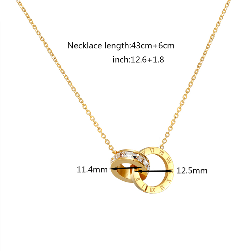New A Circle Crystal Roman Numerals Double Buckle Woman Necklace Female Titanium Steel Gold Clavicle Necklace Pendant Jewelry 7