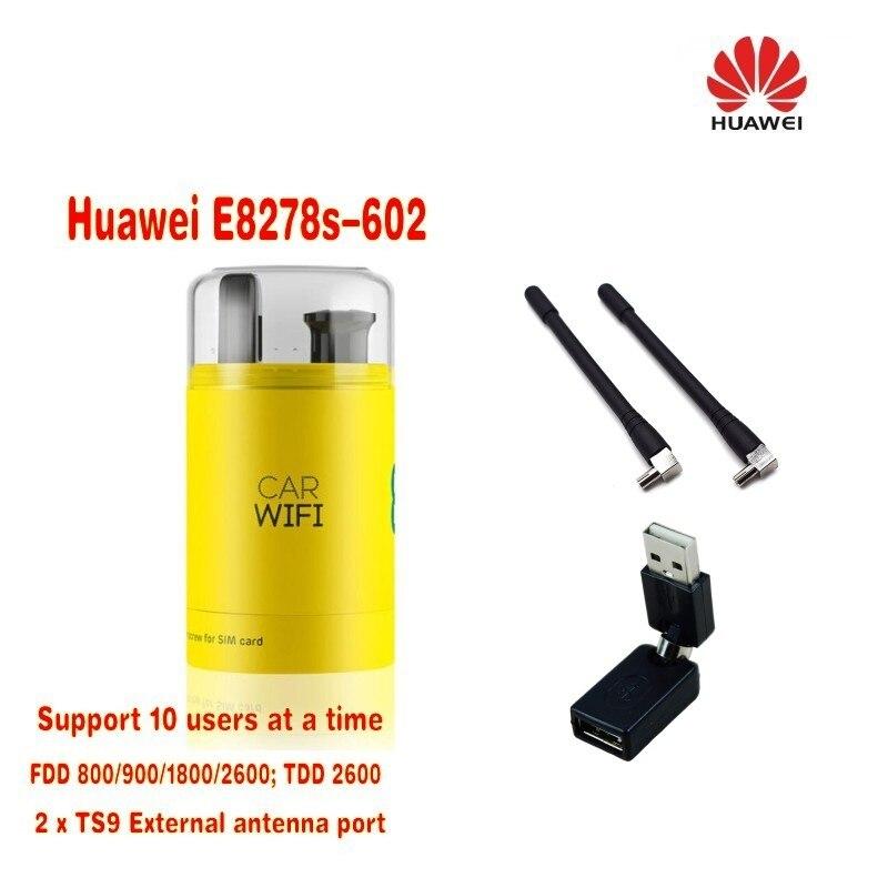 NEUF DÉBLOQUÉ HUAWEI E8278s-602 USB 4G LTE DONGLE WIFI JUSQU'À 10 UTILISATEURS MOBILES À LARGE BANDE plus 2 pièces antenne et 360 degrés adaptateur