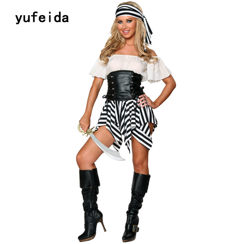 YUFEIDA Halloween Pirate Sexy Costume Adult Women Red Sexy Matador Pirate Captain Cosplay Costume With Hat High Quality