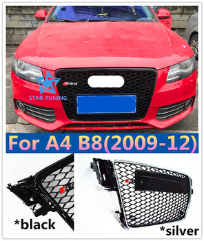 09-12 A4 Black gloss black grille Painted ABS Front Bumper Honey mesh Grill Grille with Radar for A4 S4 RS4 B8 8K A4Avant grille