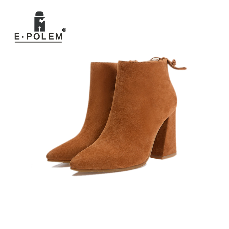 Фотография Matting Genuine Leather Boots for Woman Pointed Ends Martin Boots Thick Heel Women Ankle Boots Fashion Punk Style Winter Boots