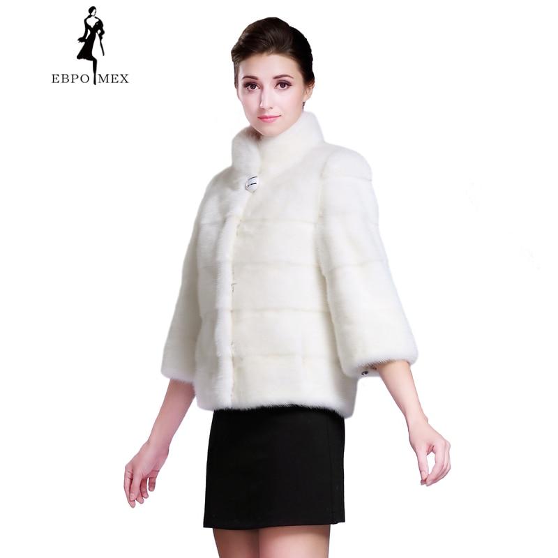 Vison Manteaux Fourrure Mode Manteau Lanterne Blanc White Mandarin Col Court De Mince Nouveau Dames Vison Manches Fourrure wqIHZtUx