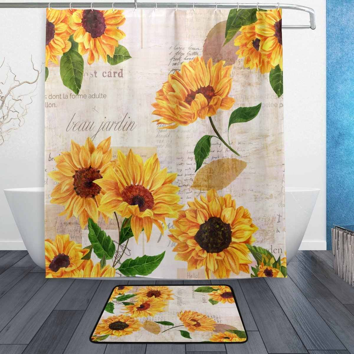 Summer Sunflower Shower Curtain and Mat Set, Vintage Retro Floral Waterproof Fabric Bathroom Curtain