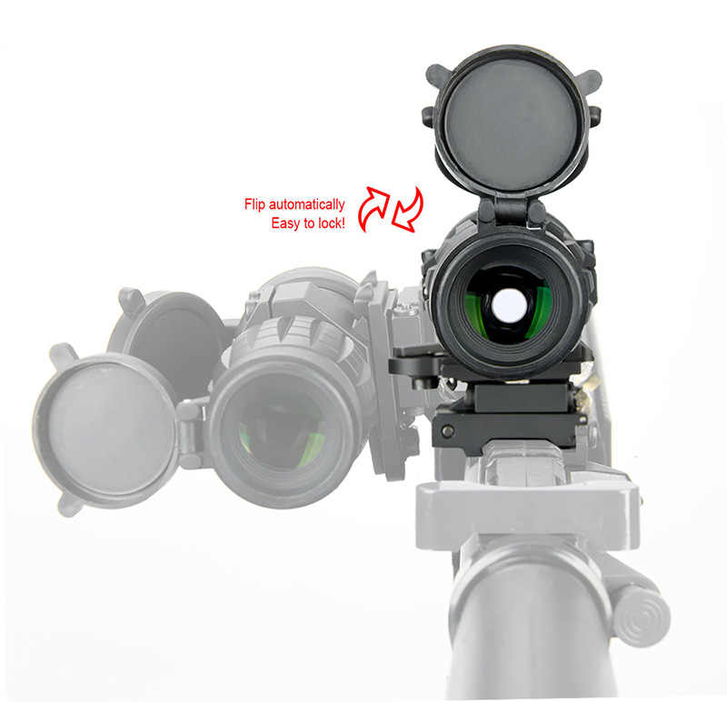 Mira óptica WIPSON con lupa 3X, miras compactas de mira telescópica de caza con cubierta abatible hacia arriba apta para montura de riel de Rifle de 20mm