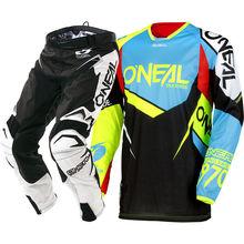 NOVA Oneal MX 2018 Hardwear Flow-True Blue Viz Oi-Calças Jérsei Motocross Moto Equitação Corrida Conjunto de Engrenagens