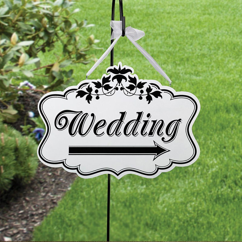 New Wedding Party Direction Signs Wood DIY Crafts Signs Wedding Directional Signs for Wedding Party Supplies 2 pieces
