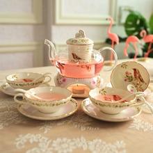 Кухонный чайный набор, домашний чайный набор для свечей, Mrs послеобеденный чай, толстый термостойкий стеклянный цветочный чайник, чашка, украшение для прополки