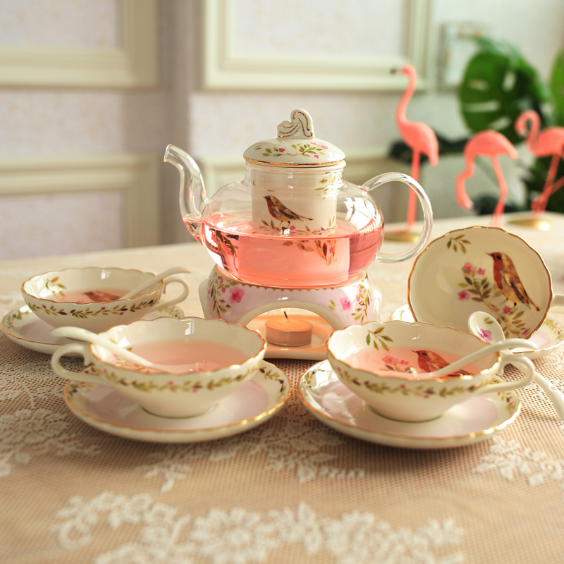 Kitchen Teaware Set Home Candle Tea Set Mrs Afternoon Tea Thicker Heat Resistant Glass Flower Teapot Cup Weeding decoration