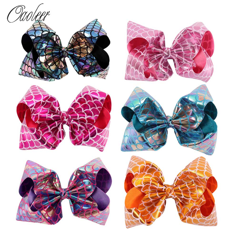 6Pcs/lot 7 Mermaid Hair Bow Hair Clips Girls Glitter Metallic Bows For Kids Cosplay Mermaid Bows DIY Hair Accessories 6 pcs lot 3 girls sweet glitter hair bow for kids boutique hairgrips high quality bling hair accessories