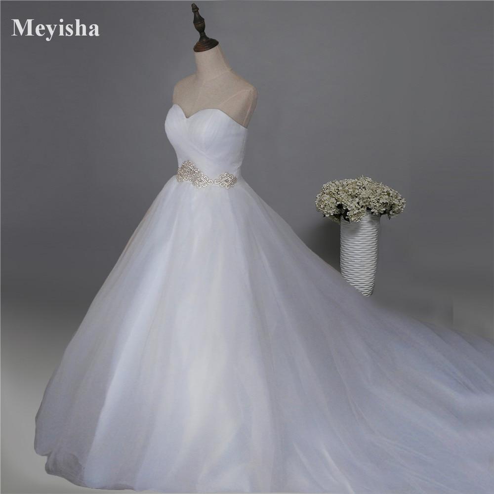 ZJ9120 2017 White Ivory Lace Bröllopsklänningar plus storlek maxi formell älskling Robe De Mariage Brudklänning med stor tåg