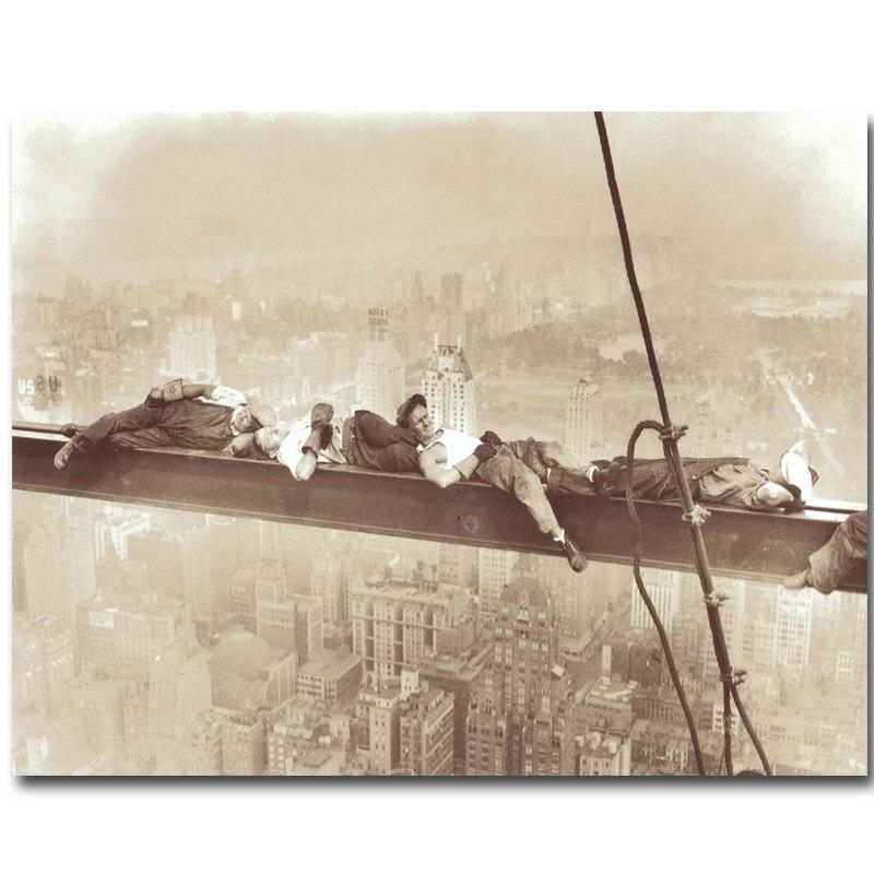 Cultura pop rascacielos en el techo del almuerzo arte seda cartel ...