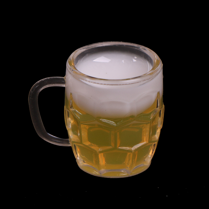 2Pcs Glass Model 1:12 Scale DIY Parts Plastic Transparent Goblet Miniature Mini Wine Beer Cup Dollhouse Craft Home Decoration