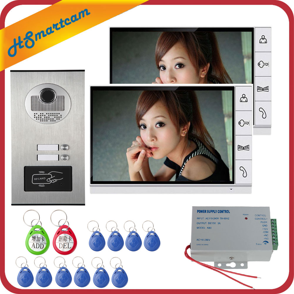 2 Unit Apartment Intercom Entry System 9''Phone Monitor Audio Wired Video Door RFID HID Card Audio Camera Visual Intercom smartyiba 2 units apartment wired 4 3 monitor rfid video intercom doorbell door phone audio visual intercom entry access system
