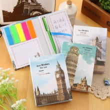 1 pcs 2017 new England style Notebook+pen Set stickers  stationery diary sticky note office school supplies memorandum недорого