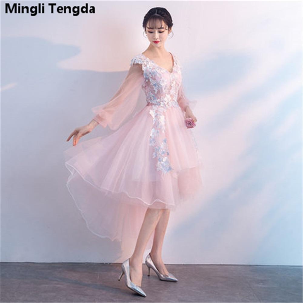 2018 Pink   Bridesmaid     Dresses   Short Applique Lace   Bridesmaid     Dresses   Backless Fast Delivery Party   Dresses   V-Neck Mingli Tengda