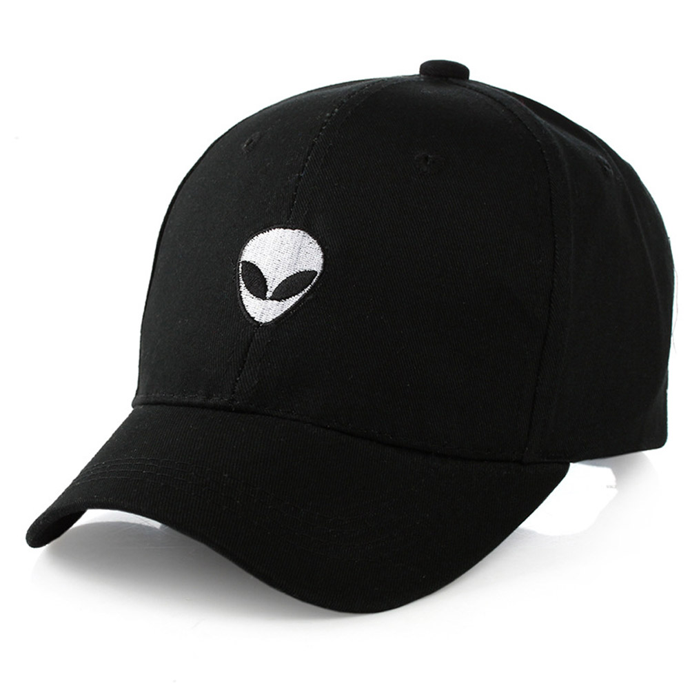 2017 Baseball Cap Black Embroidered Alien Pattern Cap Fashion Cool Adjustable Snapback Hip-Hop Baseball Cap Hat Unisex baseball cap unisex cool bboy fashion snapback adjustable hip hop hat 3solid color apparel accessories