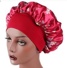 Womens Satin Print Wide-brimmed Hair Band Sleep Cap Chemotherapy Hat print hairband nightcap chemotherapy hat