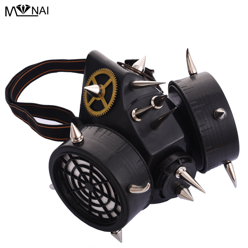 Industrious Retro Steampunk Black Gas Mask Respirator Silver Spikes Rivets Cyber Goth Cosplay Masks Party Accessories For Men/women Boys Costume Accessories