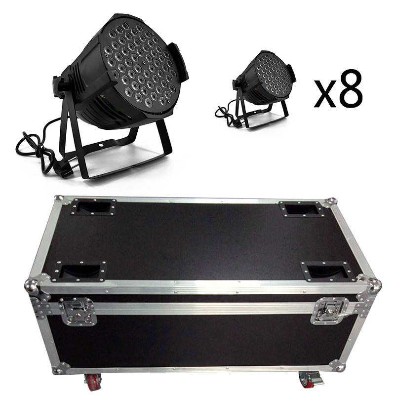 Flight Case/8pieces LED Par 54x9W RGB Lights Aluminum Alloy Windmill Lights Par Led any mobile production Stage Disco Nightclub