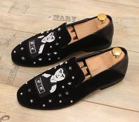 Black Velvet Dress Driving Shoes Oxfords Flats Rivets Loafers Italian Shoes For Male Outwear Runway Sneakers