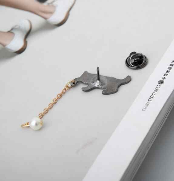 XZ 047 1 Piece 2018 Dijual Hot Fashion Anak Kucing Putih Mutiara Liontin Bros Lencana Wanita Lucu Perhiasan Aksesoris Pabrik Langsung