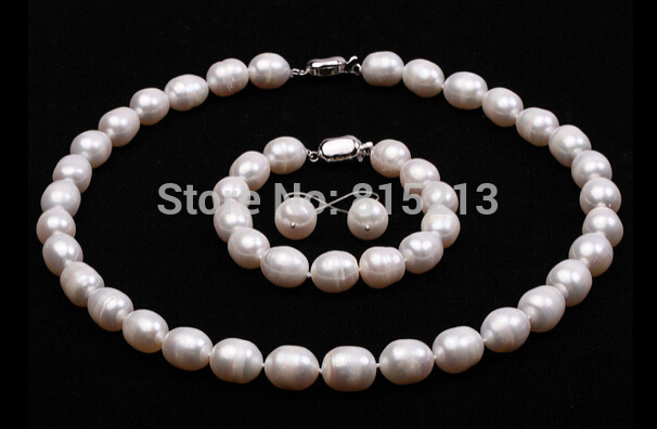 ddh001016 10-11mm White Rice-shaped Freshwater Pearl Necklace, Bracelet, Earring