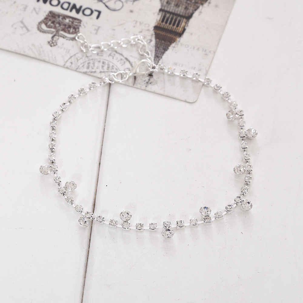 1 adet Gümüş Kristal Halhal Ayak Zinciri Ayak Bileği Bilezik Düğün Kadınlar güzel Takı Hediye