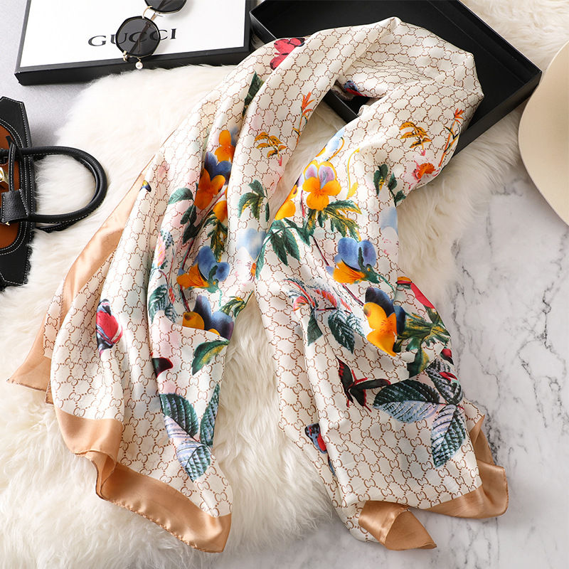 Image 3 - new ladies scarf summer flower pattern silk scarf spring and autumn wild oversized shawl Europe and America wild beach towelWomens Scarves   -