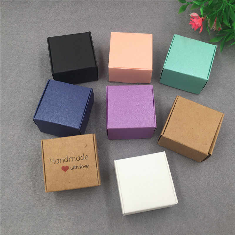 50pcs/lot 4x4x2.5cm Small Kraft Cardboard Packing Gift box MiNi Lovely Aircaft Paper Box Handmade soap Packing Box