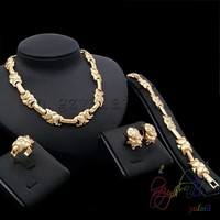 Most Popular Rhinestone Indian Bridal Jewelry Sets 18k Gold Plated Saudi Arabia Jewelry Set