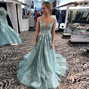 Elegant Powder Blue Prom Dresses Scoop Neck Cap Sleeves A-line Vestidos De Formal Party Gowns Illusion Back Prom Evening Dresses
