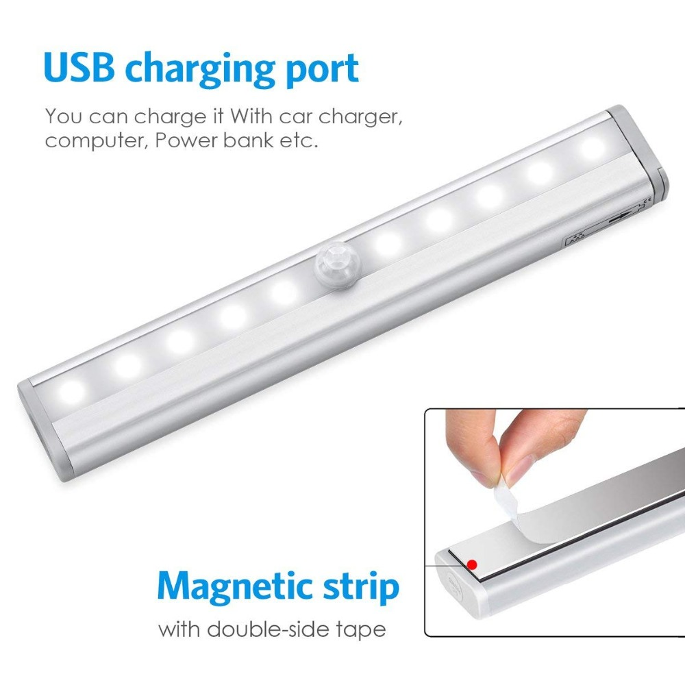 Claite Usb Rechargeable Magnet Pir Motion Sensor Led Cabinet Light Two Color Bedroom Stair Night Wall Lamp Night Light Under Cabinet Lights