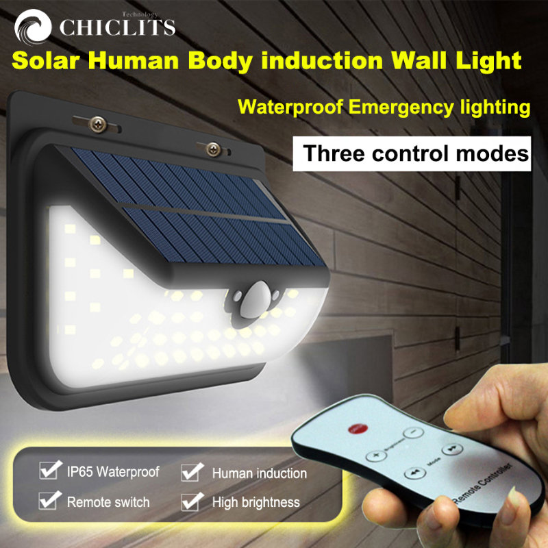 Chiclits Outdoor Solar Lights Motion Sensor Light Wall Lamp Waterproof Wireless Security Night Light with Remote Control SP706