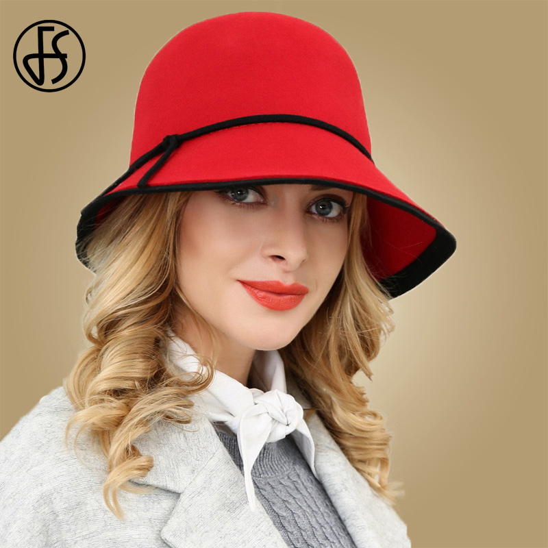07b7f5d2619 FS Black Red Wide Brim Wool Fedora Womens Hats Winter 2018 100% Felt Hat  With Bowknot Ladies Cloche Bowler Church Round Hat Cap