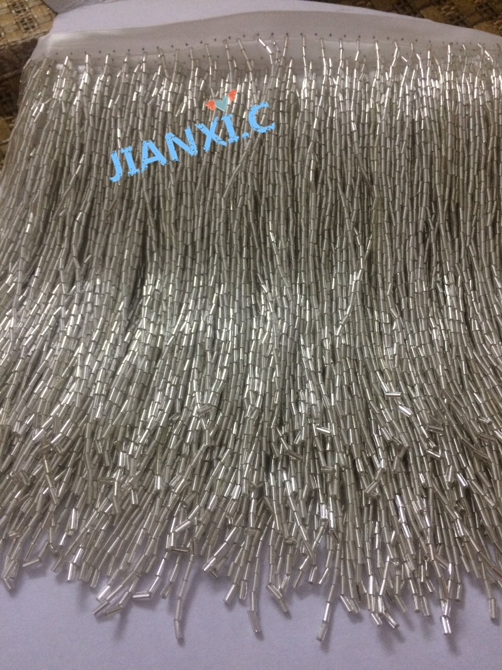 top selling silver beaded Fringe Ribbon Trim Fringe Tassel Lace Trim 17cm length JIANXI C 72709