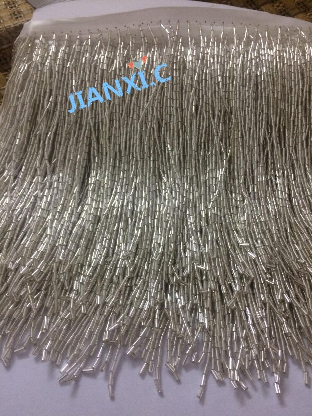 Buy Top Selling Silver Beaded Fringe Ribbon Trim Fringe Tassel Lace Trim 17cm
