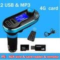 Auto USB carregador de carro carro MP3 player, cartão de 4G livre duplo USB soquete & mp3 players de música, 12 V-24 V 2100MA