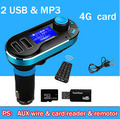 Auto USB charger car MP3 player, 4G card free double USB socket & mp3 music players, 12V - 24V  2100MA
